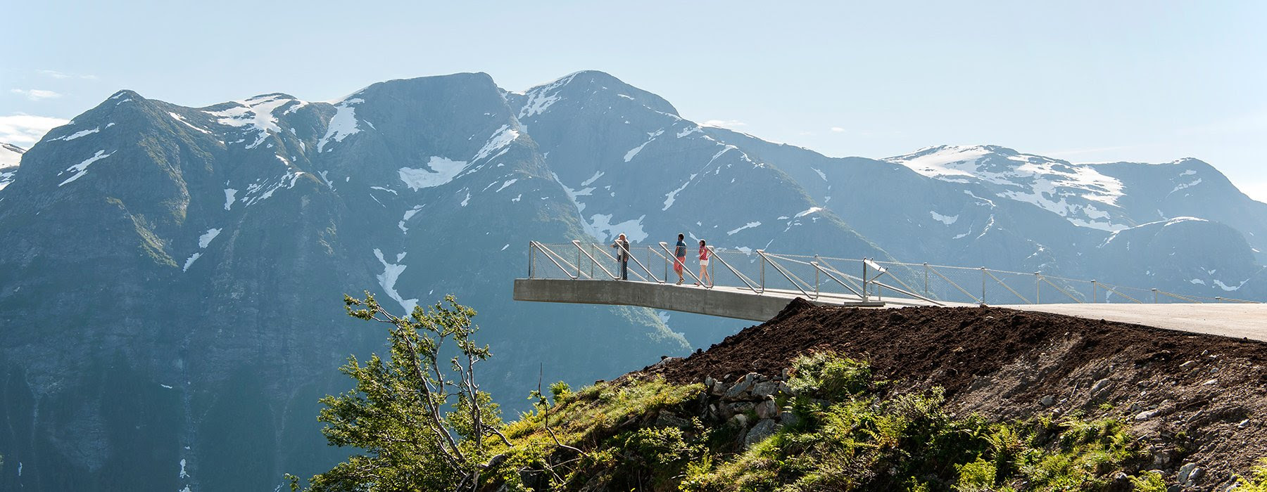 utsikten viewpoint at gaularfjellet opens along a national tourist route in norway