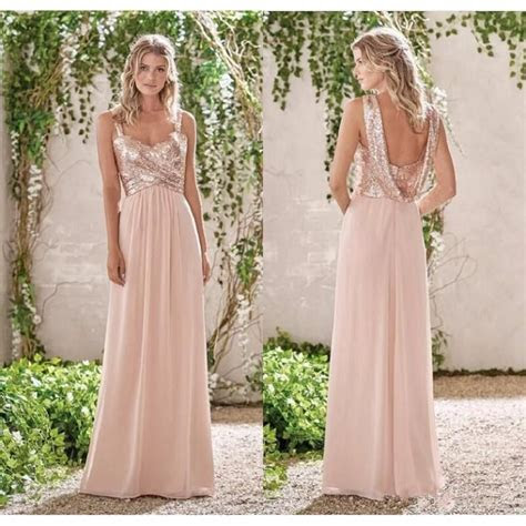 Rose Gold Sequined Top Bridesmaid Dresses Spaghetti
