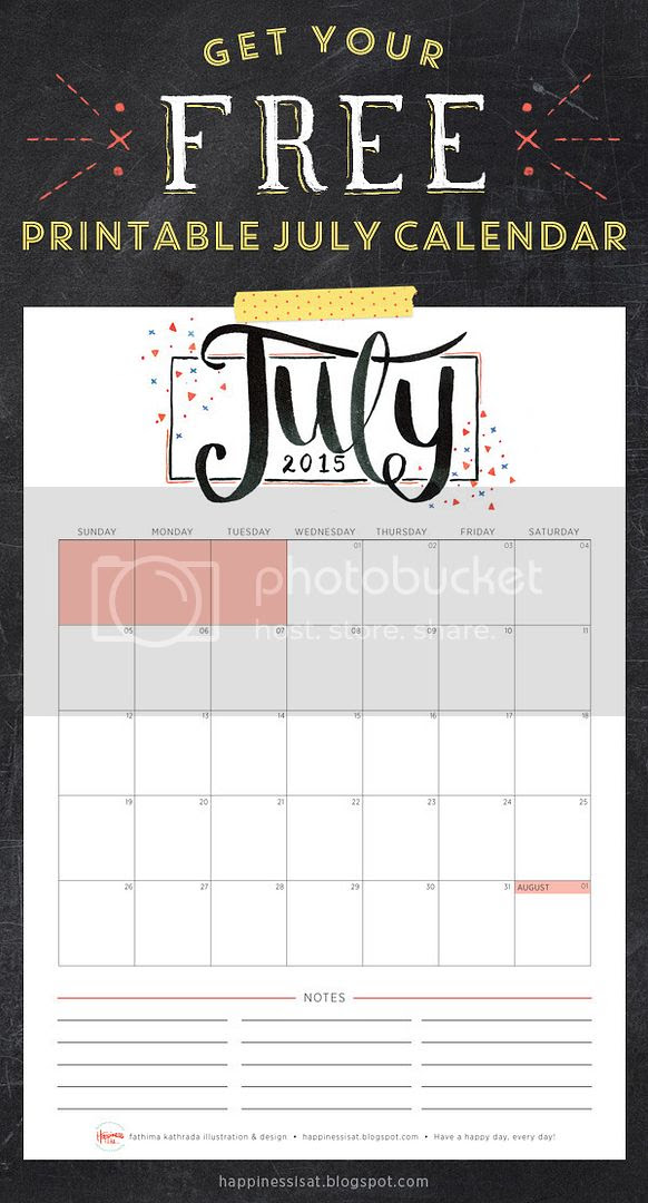Happiness is... July 2015 Free Printable Calendar and Planner
