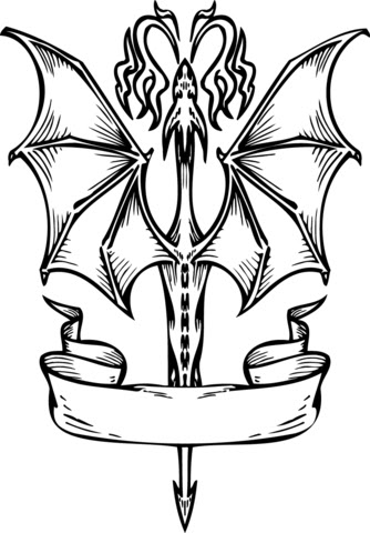 flying dragon with banner coloring page  free printable