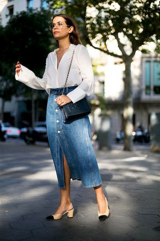 Le Fashion Blog Fall Blogger Style Clear Eyeglasses White Button Down Shirt Long Denim Skirt Quilted Chain Strap Bag Cap Toe Heels Via Collage Vintage