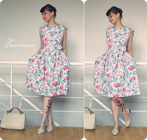 Nothing unusual, retro, vintage, szafiarka, J. na Leśno-Marchewkowej, sukienka, lata 50, 50s, kwiaty, róże, vintage cat,