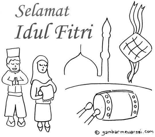 Mewarnai Selamat Hari Raya Idul Fitri Coloring F