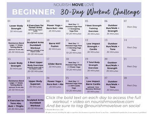 beginner workout plan  day workout calendar nourish