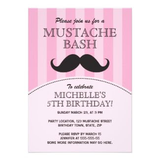 Mustache bash birthday party invitation, pink