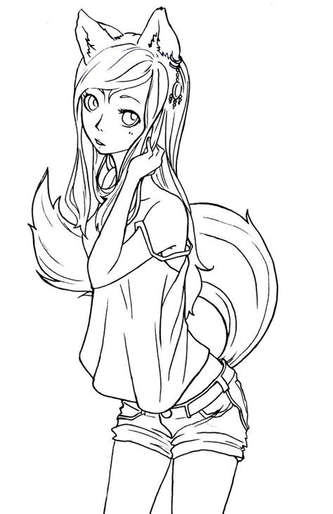 fox girl lineart  komorinightdeviantartcom lineart