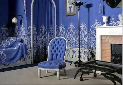 Vintage miniature gathered polkadot box pleat Lanvin Blue 1970 dress