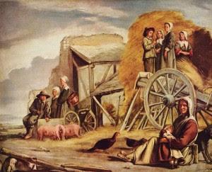 """As mulheres do """"povo"""" de Paris, durante a Revolução Francesa, contrastam com o universo austero e alegre e estável dos camponeses do interior, como os representados no quadro de Louis le Nain"""