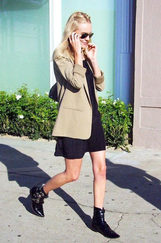 Le Fashion Blog Celebrity Style Kate Bosworth Neutral Blazer Black Dress Buckled Pointed Toe Ankle Boots Via Young Celebrity
