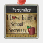 Love being a School Secretary | Vintage Square Metal Christmas Ornament