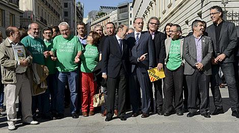 Foto de los portavoces salvo PP, UPyD, UPN y Foro. | Bernardo Díaz