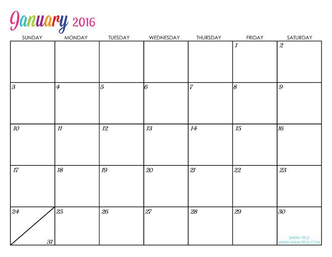 2016 calendar january