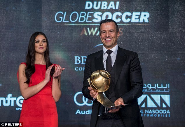 Jorge Mendes, who represents Real Madrid star Cristiano Ronaldo, was handed Best Agent of the Year award