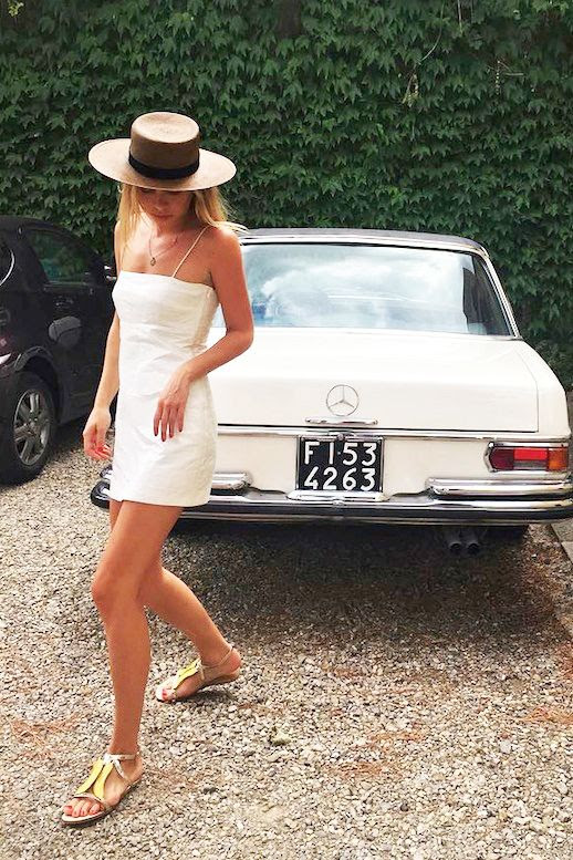 Le Fashion Blog Model Blogger Designer Summer Style Alexandra Spencer Straw Hat White Dress Metallic Flat Sandals Via @4thandBleeker