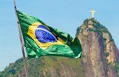 Brazilian waving flag in Rio de Janeiro, Brazil