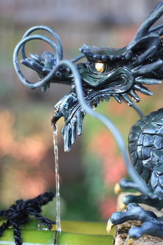 Dragon-shaped water outlet at Seimei Jinja Shrine