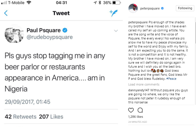 "Peter Okoye Responds To Paul Okoye's Shade: ""My Brother, I Have Moved On"""