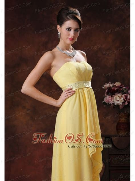 2013 Nogales Arizona New Style Yellow High low Prom Dress