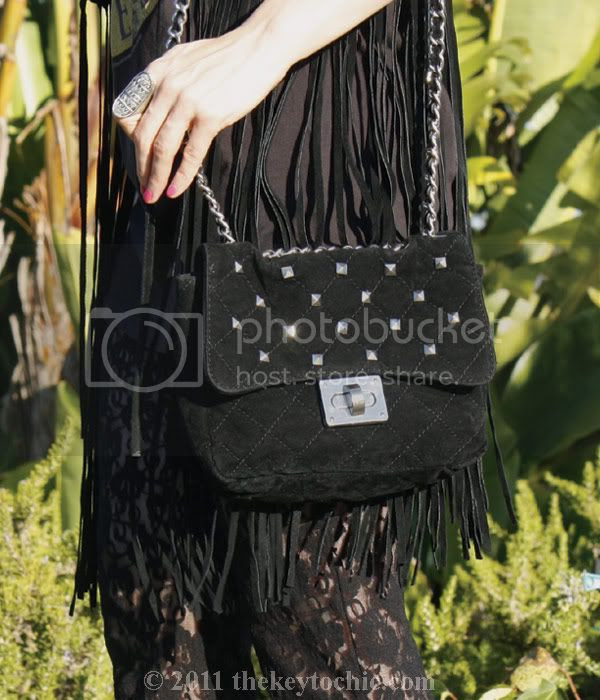 Suede fringe vest, lace bell bottoms, studded bag, Steve Madden Wicked leopard wedges, Los Angeles fashion blog
