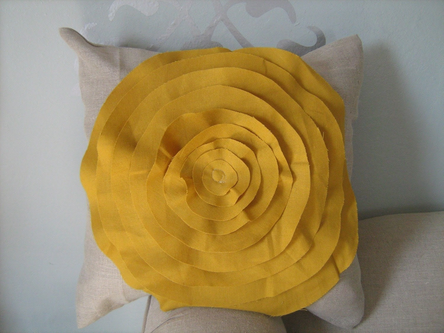 French Rose  Pillow in Oatmeal Linen with Mustard Yellow Rose