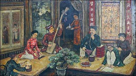 Tranh vẽ về ca trù (Ảnh: catru library/viettimes.com)