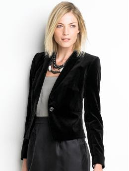 Women: Velvet blazer - Black