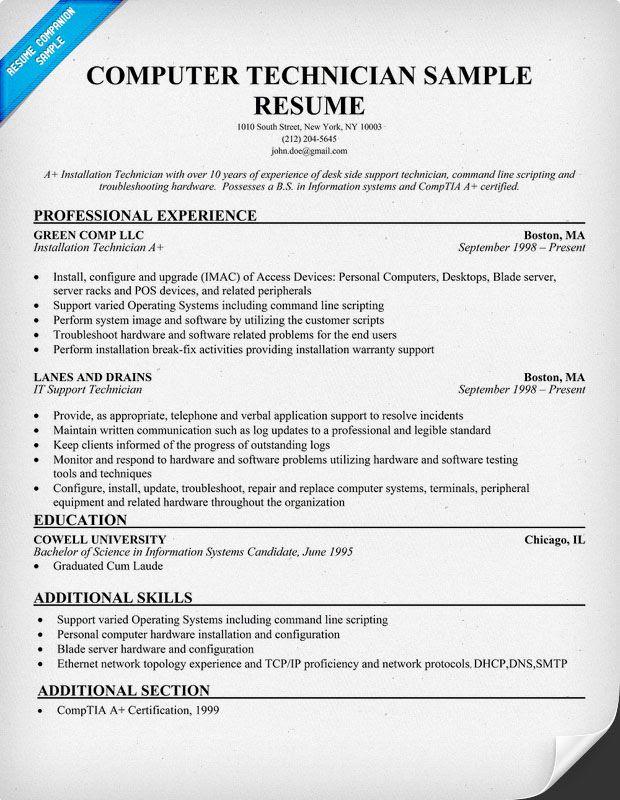 Free Computer Technician Resume Example Resumecompanion