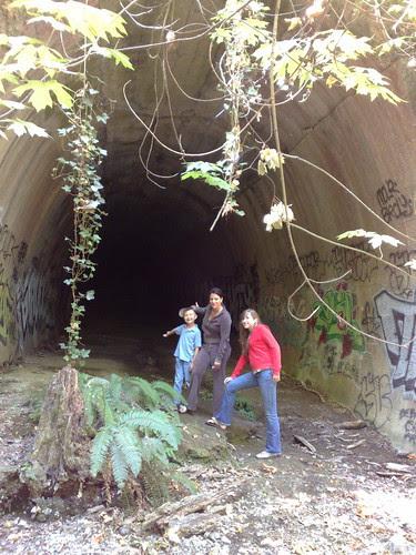Liz, Ben, Jane outside Wright's Station tunnel