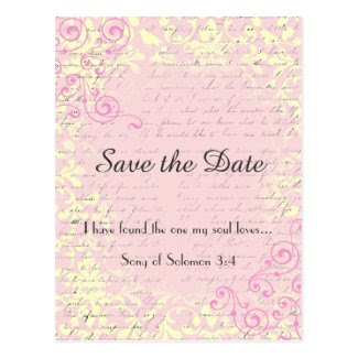 Vintage Romance Save the Date with Bible Verse Postcards