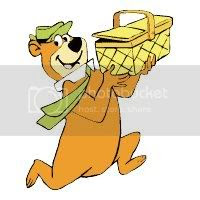 Yogi Bear clipart of hurry to picnic time!