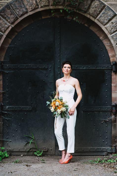 Modern & Minimal Wedding with Pops of Orange & a Jumpsuit
