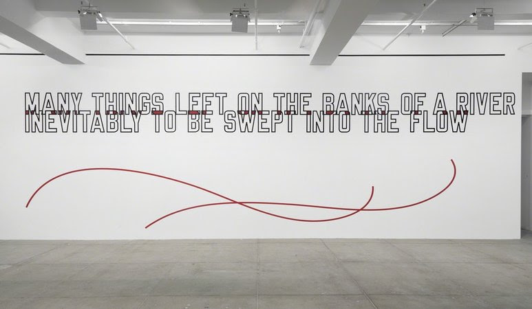 Lawrence Weiner, MANY THINGS LEFT ON THE BANKS OF A RIVER INEVITABLY TO BE SWEPT INTO THE FLOW, 2014