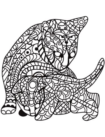 cat  kitten  zentangle style coloring page