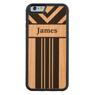 Black Stripes and Chevrons with Your Name on Wood Carved® Cherry iPhone 6 Bumper