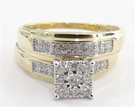 14k Yellow Gold Vintage double band Style Diamond Wedding