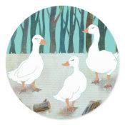 White Geese Sticker sticker