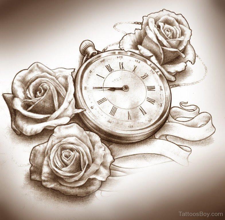 Rose Clock Tattoo Tattoo Designs Tattoo Pictures