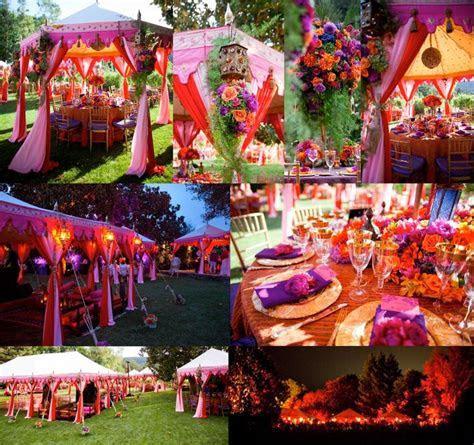 red, orange and purple bohemian wedding theme   The