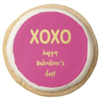Faux Gold Foil XOXO | Valentine's Day Cookie Round Premium Shortbread Cookie