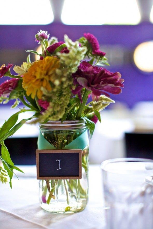 mini chalkboard table numbers on mason jar vases