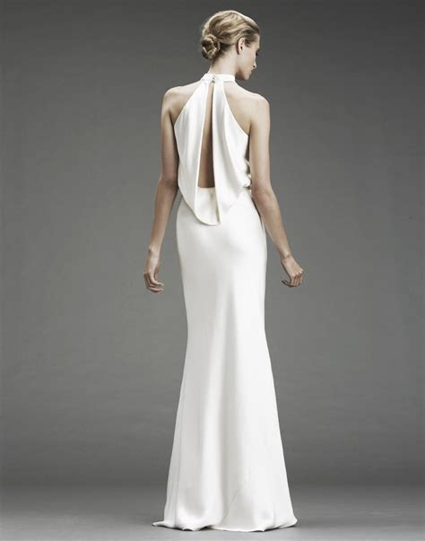 Slinky silk halter wedding dress with deep v halter and