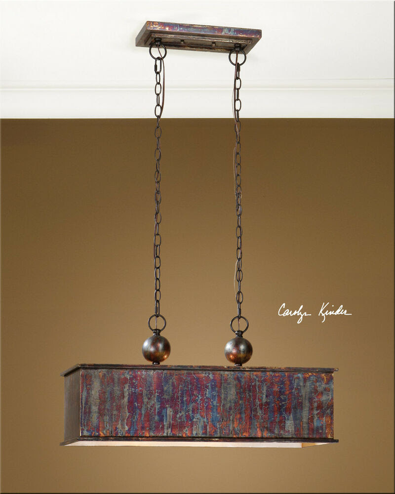 28quot; METALLIC OXIDIZED COPPER WASH HANGING PENDANT LIGHT KITCHEN OR GAME ROOM  eBay
