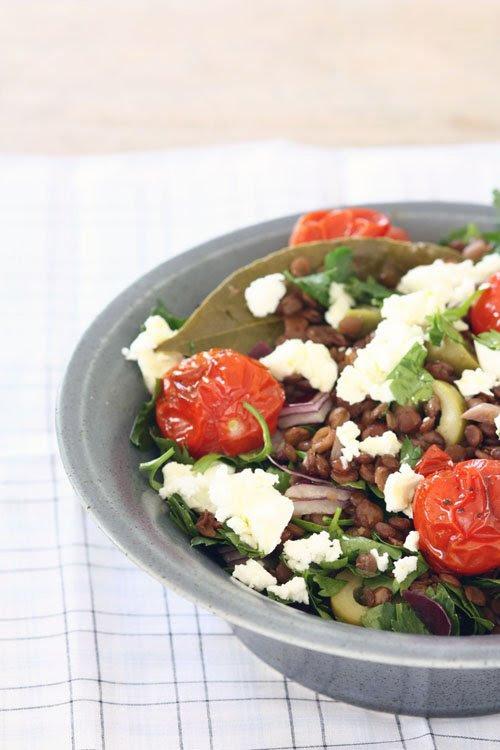 puy lentil salad with feta