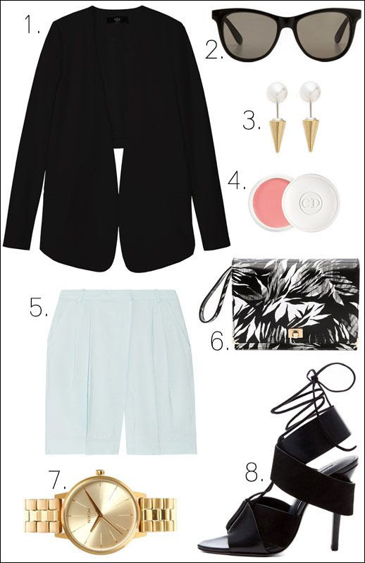LE FASHION OUTFIT COLLAGE SPRING FRESH Black Tibi City Stretch Open Back Blazer Wildfox Catfarer Sunglasses Fallon Jewelry Swarovski Pearl Microspike Earrings Dior 'Crème de Rose' Smoothing Plumping Lip Balm By Malene Birger Stray Blue Mint Teal Pleated-Front Voile Shorts Jason Wu Jourdan Black and White Tropical Print Clutch Gold Nixon Small Kensington Watch Alexander Wang Malgosia Leather and Suede Sandals photo LEFASHIONOUTFITCOLLAGESPRINGFRESHTIBIOPENBACKJACKETBYMALENEBIRGERSHORTSALEXANDERWANGMALGOSIASANDALS.jpg