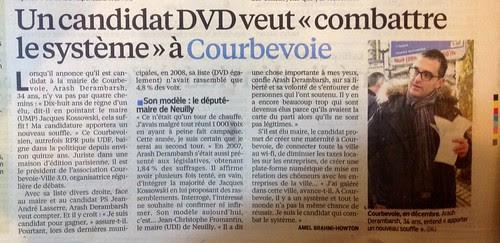 Le Parisien annonce la candidature de Arash Derambarsh pour Courbevoie 2014 ! by Arash Derambarsh