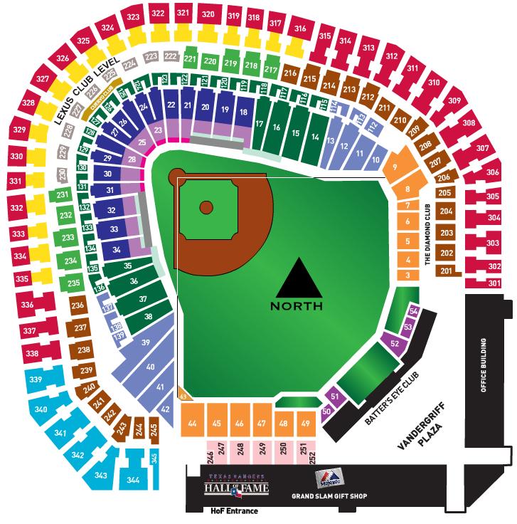 Rangers Stadium Seating Map Map Of Texas Rangers Stadium | Map Of Us Western States