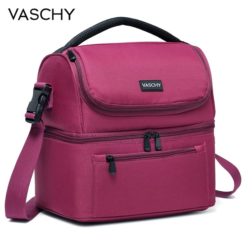 Hot VASCHY Lunch Bag Insulated Lunch Cooler Bag Leak-proof in Dual Compartment Bento Bag for Women Men 14 Cans Picnic Bag Burgundy