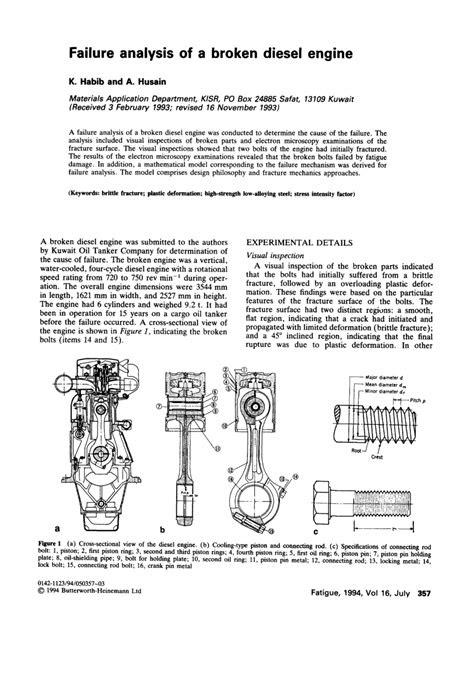 (PDF) Failure analysis of a broken diesel engine