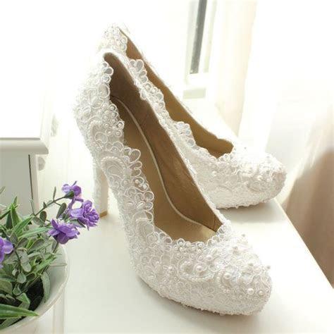 whiteivory lace wedding shoes lace bridal shoes ivory