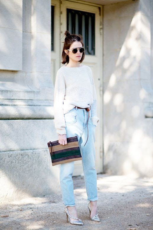 Le Fashion Blog Street Style Round Top Bar Sunglasses Textured Sweater Drop Crotch Jeans Wrap Belt Glitter Pumps Via Harpers Bazaar